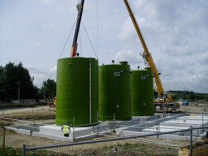 Large Polypropylene GRP Chemical Storage Tanks for Caustic Soda Being Installed On Site England
